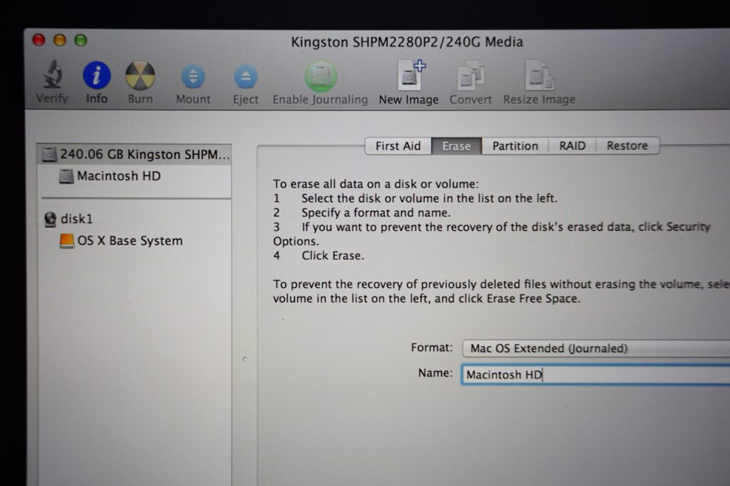 Disk Utility Format New SSD