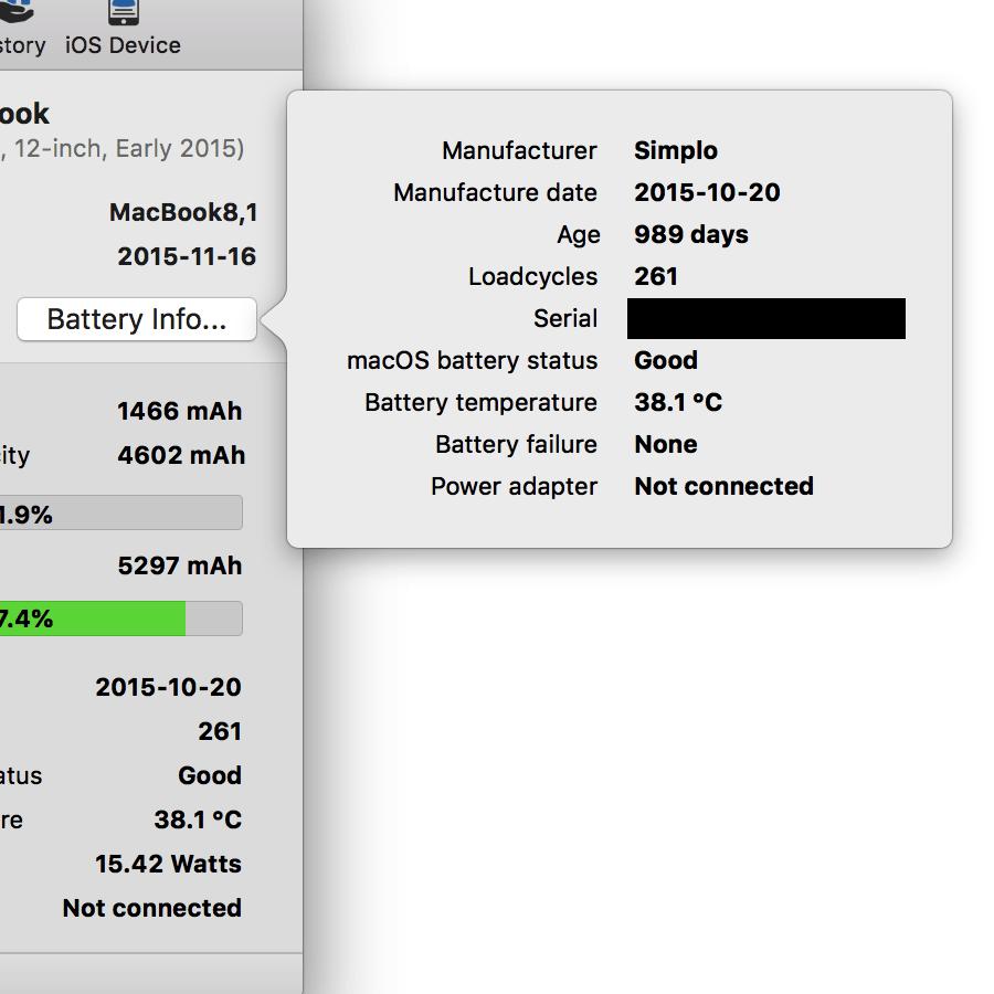 Coconut Battery Macbook Details