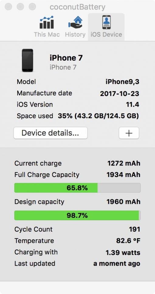 battery status iphone coconut