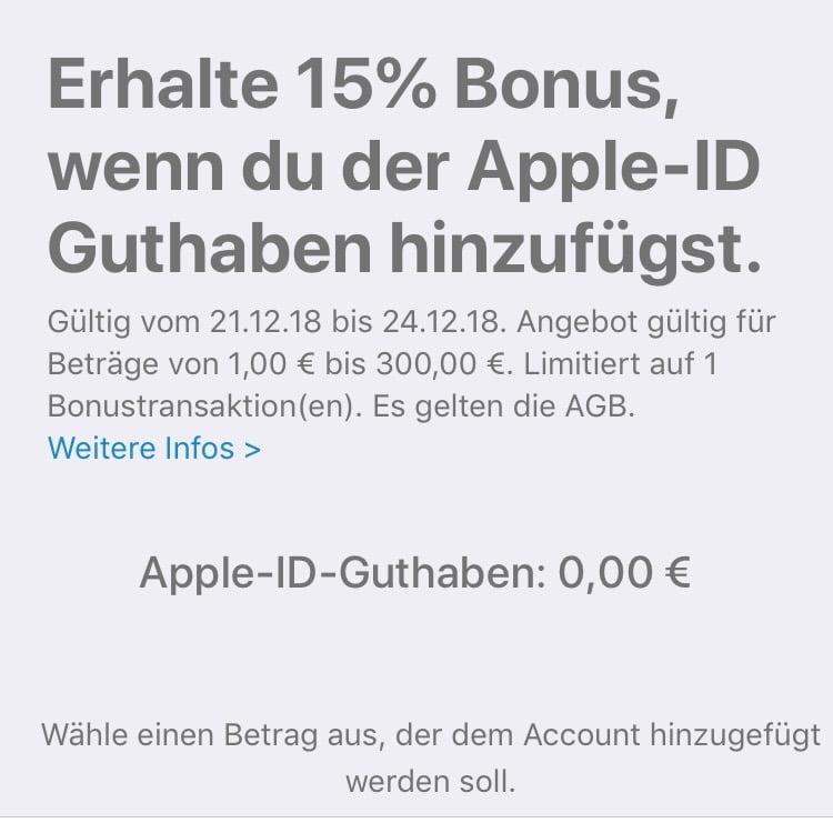 Apple gives 15% bonus on newly purchased Apple ID credit