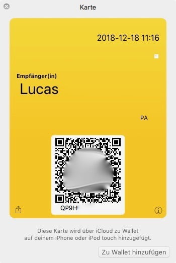 Super simple: Frank DHL parcels with a QR code in the iPhone wallet.