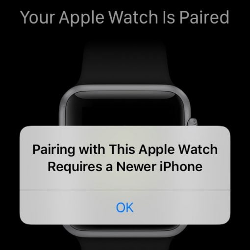 paring with this apple watch requires a newer iphone
