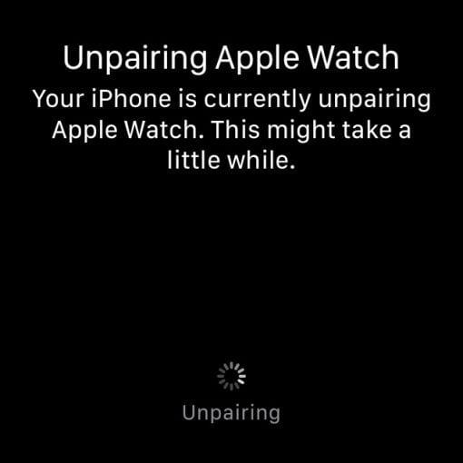 unpairing apple watch