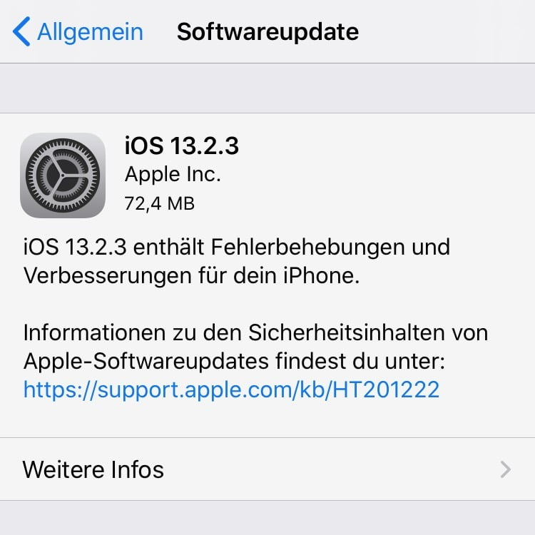 iOS and iPadOS 13.2.3 released