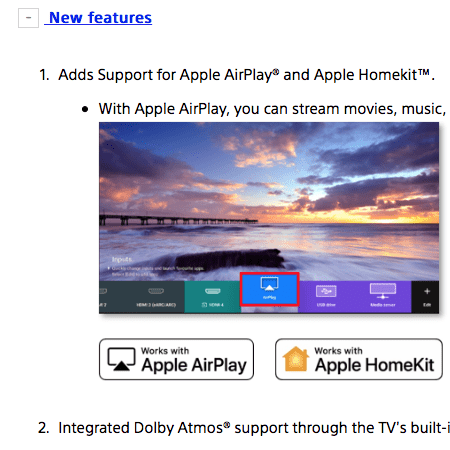 Sony TVs of 2018 and 2019 get AirPlay 2 update