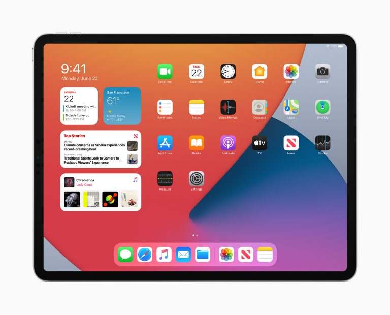 iOS 14 with large widgets, iPadOS 14 with macOS structure