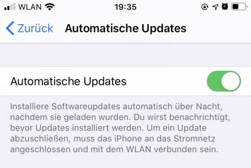 iOS 13 Automatische Updates