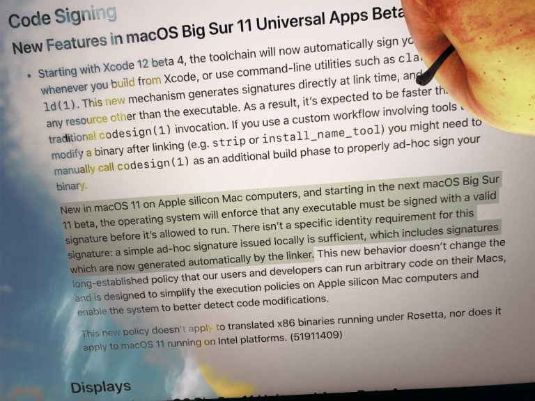 ARM Macs only launch signed apps