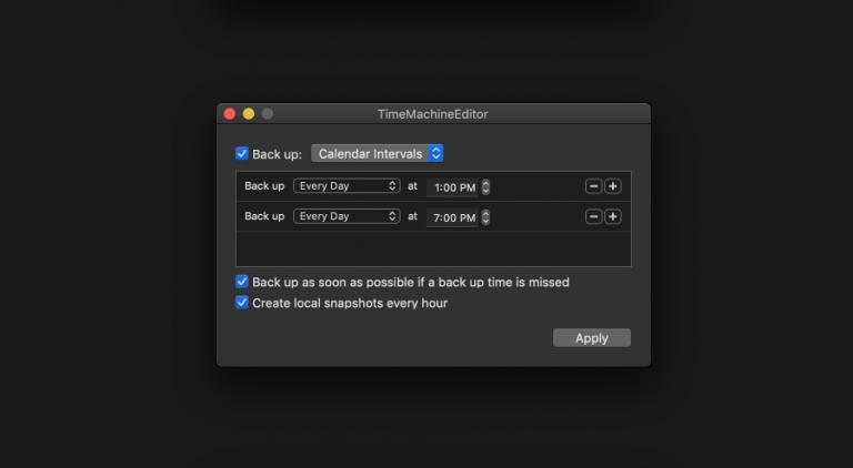 Set intervals: Change Time Machine backup times