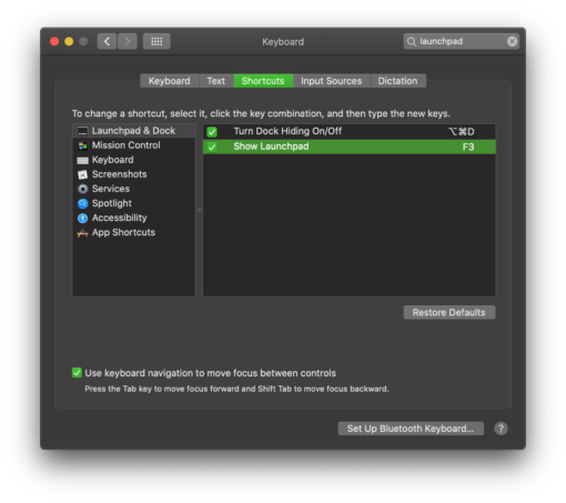 Launchpad new shortcut macOS
