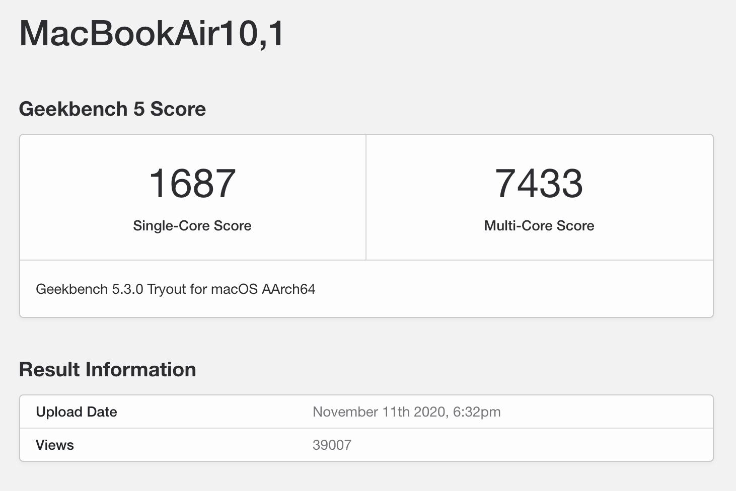 M1 MacBook Air Benchmark