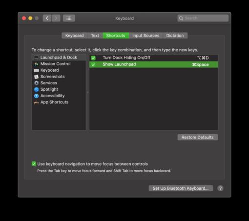 Open Launchpad instead of Spotlight