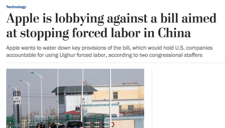 Washington Post: Apple against law to prevent forced labor