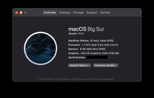 macOS 11 Big Sur MacBook 12