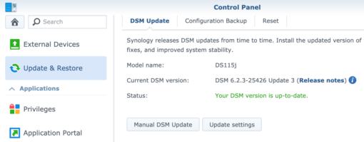 Synology DSM manual Update