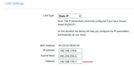 TP Link static IP