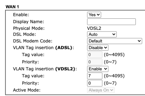 Router VLAN Tag