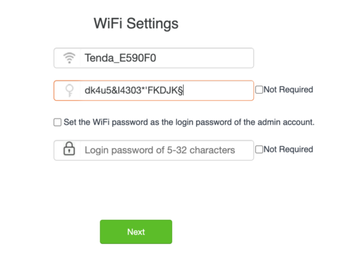 Tenda Wifi Settings