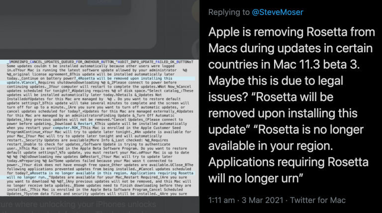 Will Apple remove Rosetta 2 with macOS 11.3?