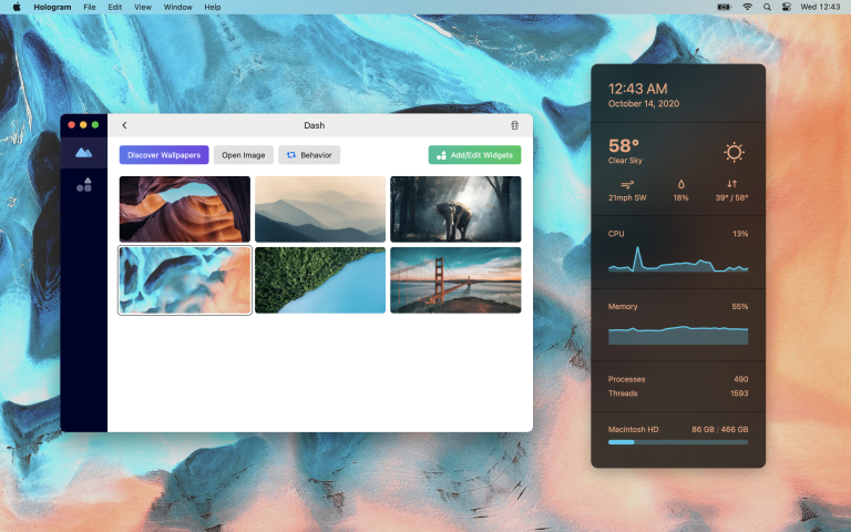 Hologram Desktop: Widgets and wallpapers for macOS