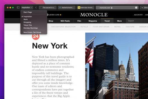 Apple macos monterey safari tab group 06072021