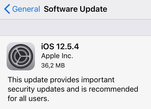 iOS 12.5.4 gets important security updates