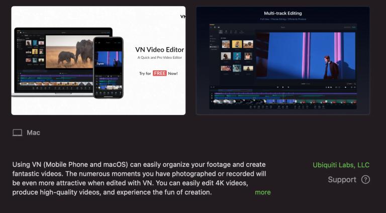 iMovie alternative from Ubiquiti: Video editing software VN