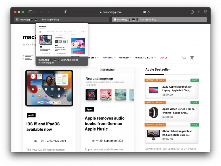 Safari 15 for macOS 11 available